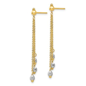 14K Two-tone Cable Chain Faceted Bead Earrings