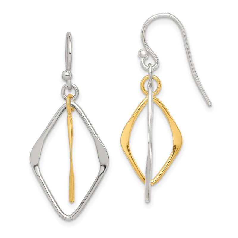 Quality Gold Sterling Silver Gold Tone Polished Dangle Earrings