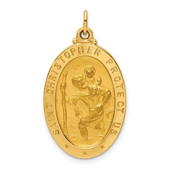 14k Solid Polished/Satin Medium Oval St. Christopher Medal