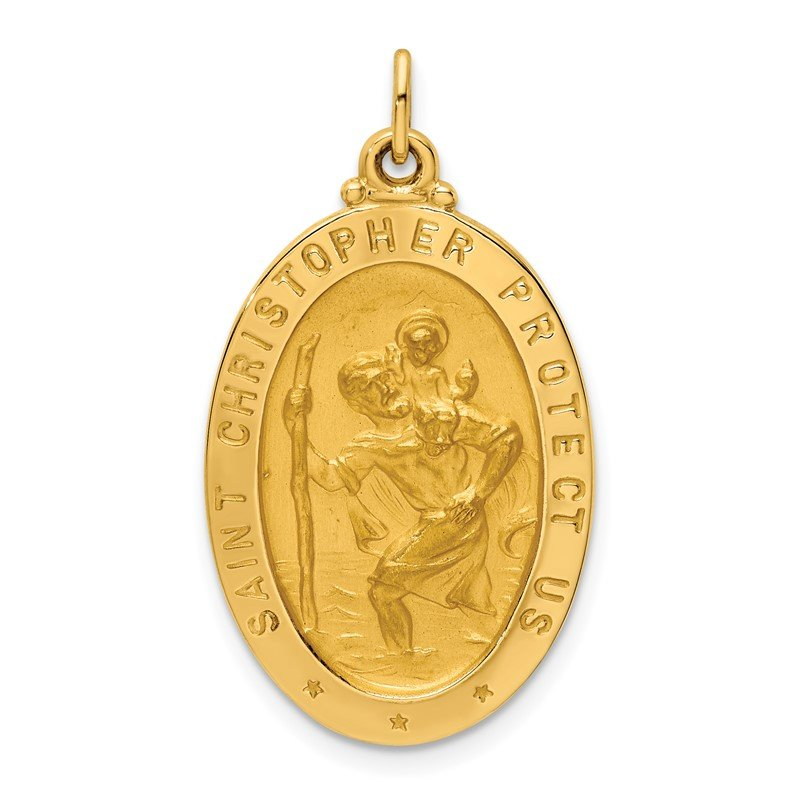Quality Gold 14k Solid Polished/Satin Medium Oval St. Christopher Medal