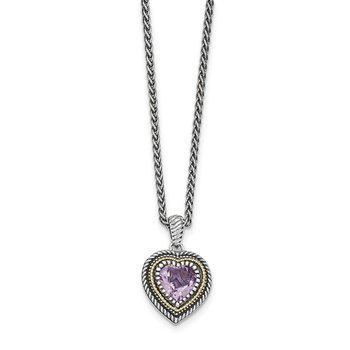 Sterling Silver w/14k Pink Quartz Heart Necklace