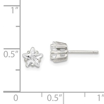 Sterling Silver 6mm Star Basket Set CZ Stud Earrings