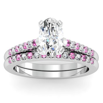 Cathedral Channel set Pink Sapphire & Diamond Engagement Ring with Matching Wedding Band
