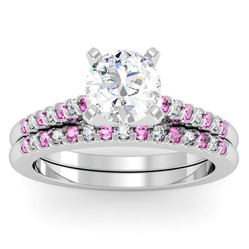 California Coast Designs Cathedral Channel set Pink Sapphire & Diamond Engagement Ring with Matching Wedding Band