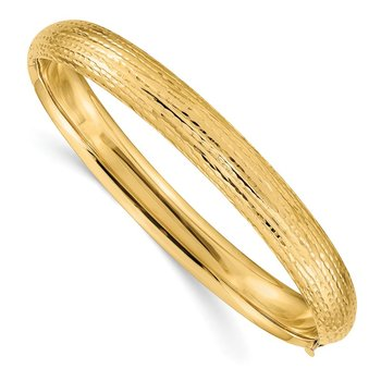 14k 5/16 Diamond-cut Fancy Hinged Bangle Bracelet