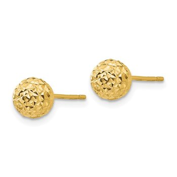 14K Diamond Cut Ball Post Earrings