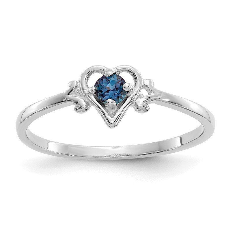 Quality Gold 14K White Gold Synthetic Alexandrite Birthstone Heart Ring