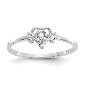 14K White Gold White Topaz Birthstone Heart Ring