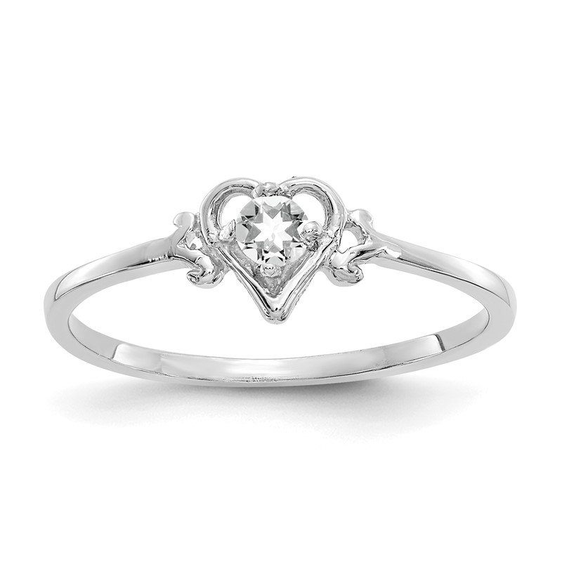 J.F. Kruse Signature Collection 14K White Gold White Topaz Birthstone Heart Ring