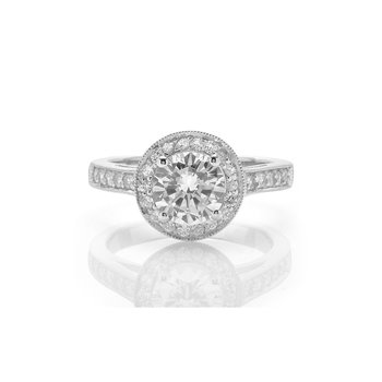 Classic Round Diamond Halo Engagement Ring