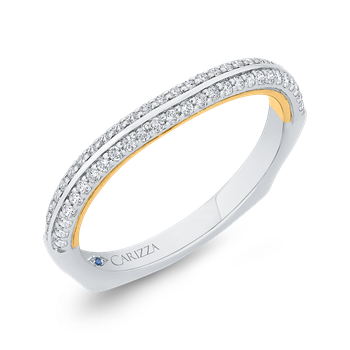 18K Two-Tone Gold Diamond Wedding Band with Euro Shank