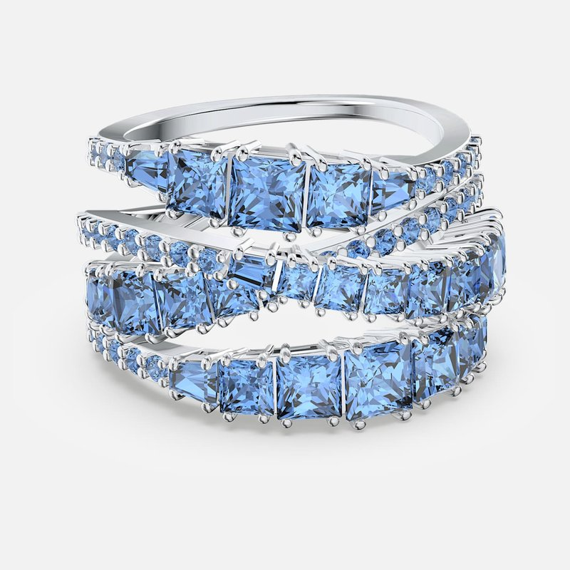 Swarovski Twist Wrap Ring, Blue, Rhodium plated