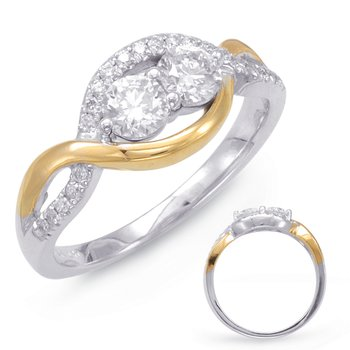 White & Yellow Gold Two Stone Ring