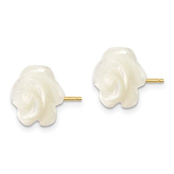 14k 10mm White Mother of Pearl Flower Design Post Stud Earrings