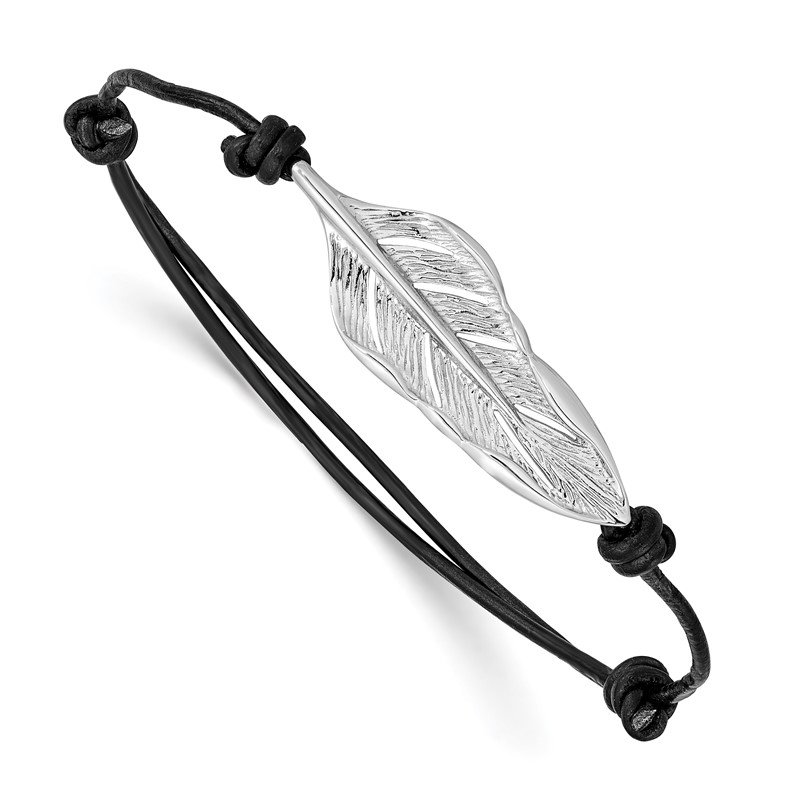 Quality Gold Sterling Silver Rhodium-plated Leaf Black Leather Adjustable Bracelet