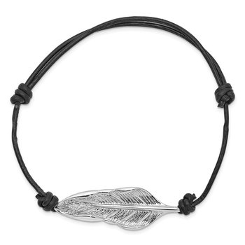 Sterling Silver Rhodium-plated Leaf Black Leather Adjustable Bracelet