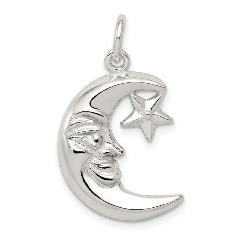 Fine Jewelry by JBD Sterling Silver Moon & Star Pendant