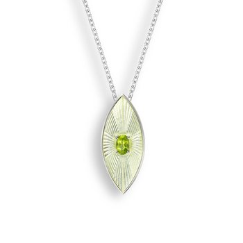 Yellow Marquise Necklace.Sterling Silver-Peridot