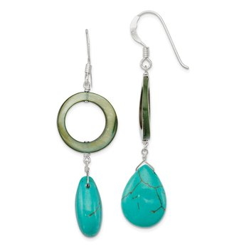 Sterling Silver Dyed Blue Howlite/Green Mother of Pearl Earrings