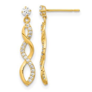 14k Madi K CZ Twisted Dangle Post Earrings
