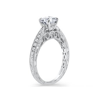 Vintage Engraved Solitaire Diamond Engagement Ring