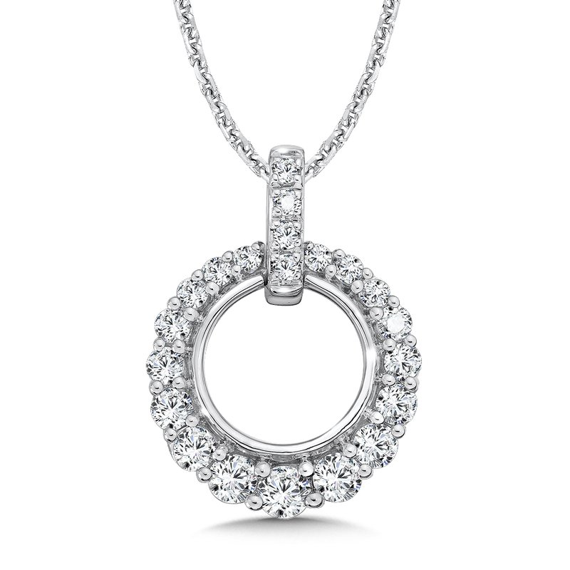 Caro74 Diamond Open Round Pendant with Diamond Bale in 14K White Gold