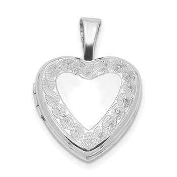 Sterling Silver Rhodium-plated Twisted Border 12mm Heart Locket