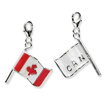 SS RH 3-D Enameled Canadian Flag w/Lobster Clasp Charm