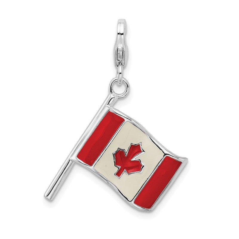 Quality Gold SS RH 3-D Enameled Canadian Flag w/Lobster Clasp Charm