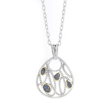 Sterling Silver and 14K Yellow Gold Sapphire Pendant