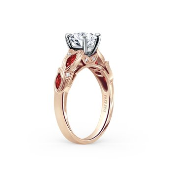 Ruby Leaf Diamond Engagement Ring