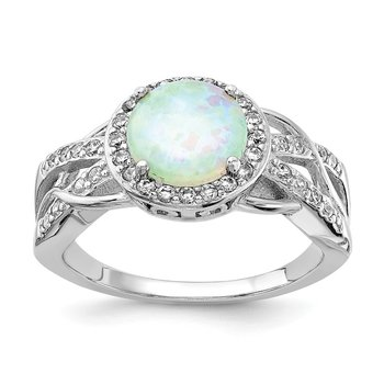 Cheryl M Sterling Silver CZ and Lab created Opal Ring