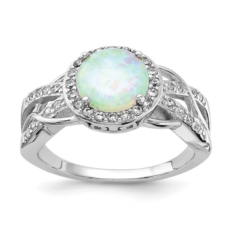 Cheryl M Cheryl M Sterling Silver Rhodium-plated CZ & Created Opal Twisted Ring