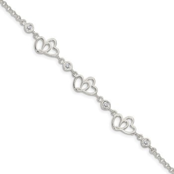 Sterling Silver Polished CZ Hearts 7.5in Bracelet