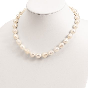 Sterling Silver RH 11-12mm White Baroque FWC Pearl Necklace