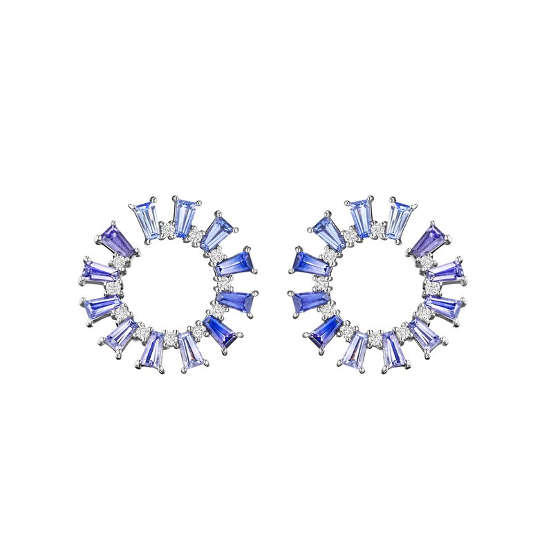 Penny Preville Blue Sapphire Ombre Wrap Around Hoop Earrings