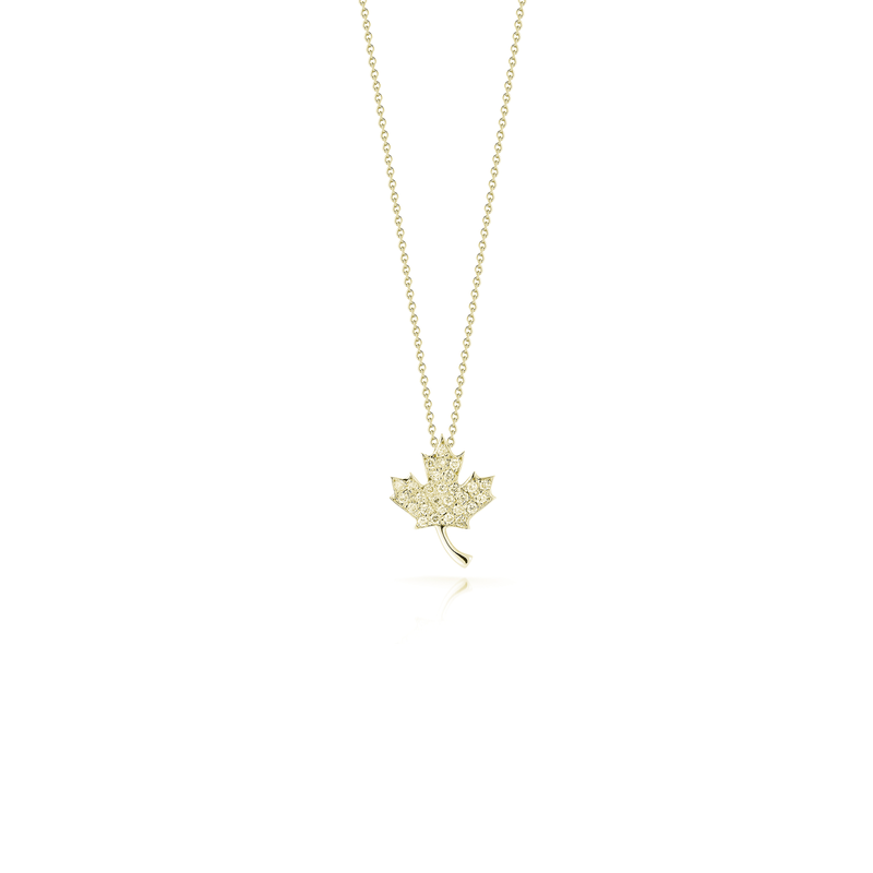 Roberto Coin 18Kt Gold Maple Leaf With Diamonds