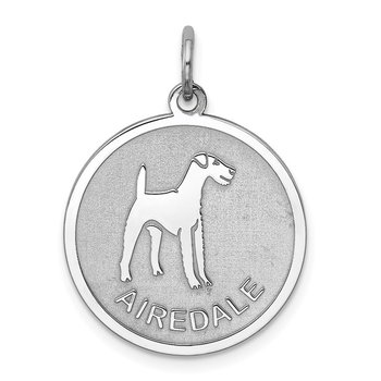 Sterling Silver Rhodium-plated Airedale Disc Charm
