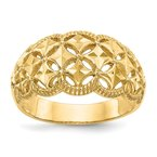 Arizona Diamond Center Collection 14K Diamond-cut Scalloped Edge Pattern Dome Ring
