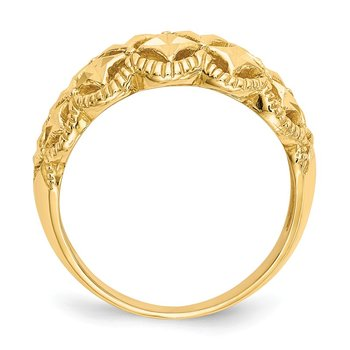 14K Diamond-cut Scalloped Edge Pattern Dome Ring