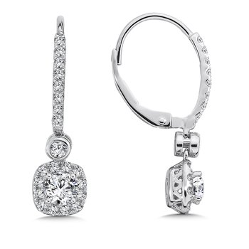 Diamond Drop Earrings with Cushion Halo in 14K White Gold with Platinum Post (5/8ct. tw.)