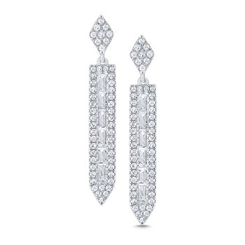 14K Gold and Diamond Mosaic Linear Earrings