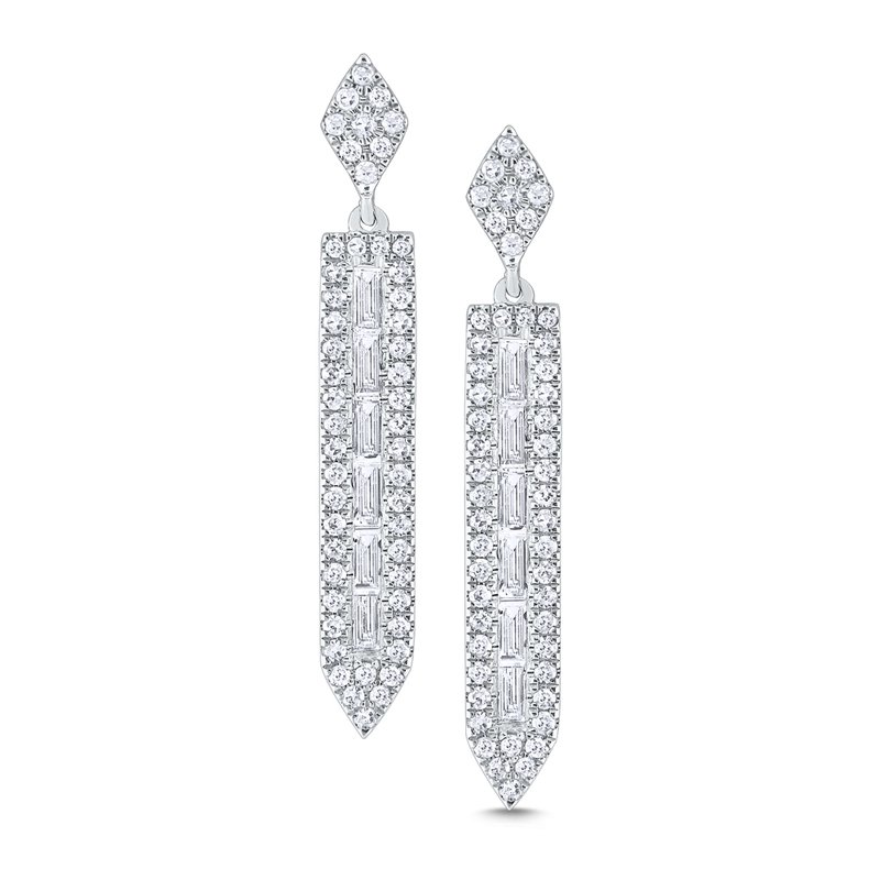 KC Designs 14K Gold and Diamond Mosaic Linear Earrings