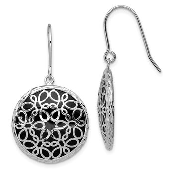 Sterling Silver Rhodium-plated Diamond Cut Onyx Circle Dangle Earrings