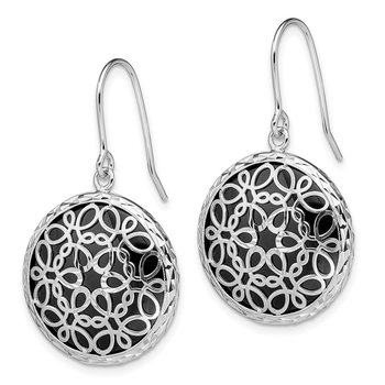 Sterling Silver Rhodium-plated D/C Onyx Shepherd Hook Earrings
