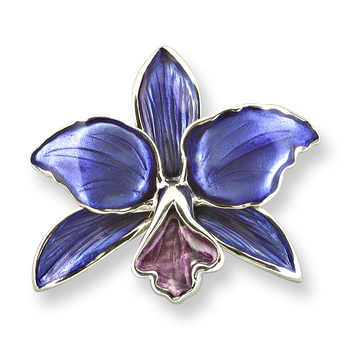 Sterling Silver Orchid Brooch-Purple.
