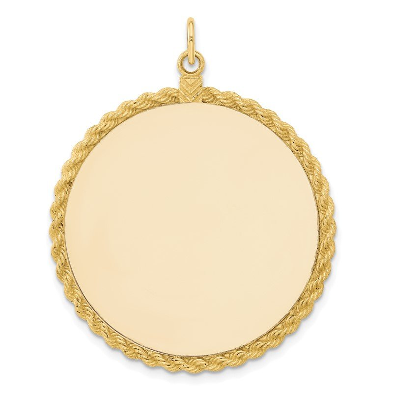 Lester Martin Online Collection 14k Plain .013 Gauge Circular Engravable Disc with Rope Charm