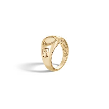 Classic Chain Signet Ring in 18K Gold