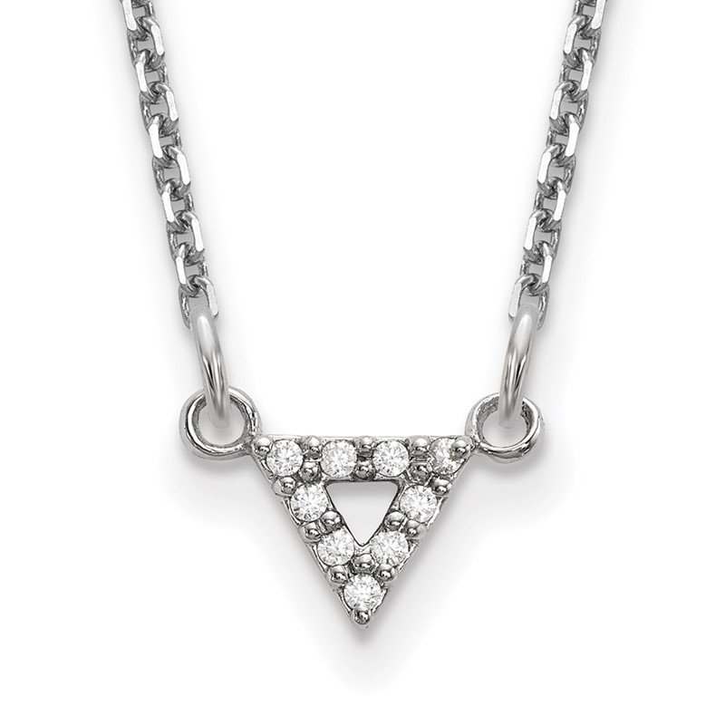 Quality Gold 14k White Gold A Quality Diamond 6mm Triangle Necklace