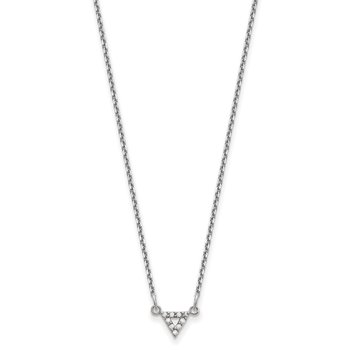 14k White Gold A Quality Diamond 6mm Triangle Necklace